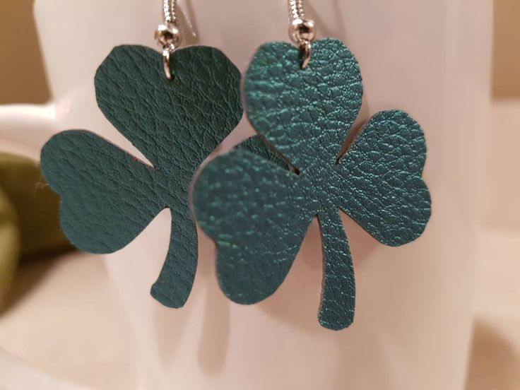 Leather Clover Earings
