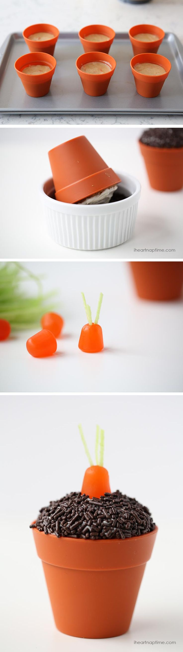 Carrot cupcakes in a pot! So cute and simple. Such a great treat for Easter!
