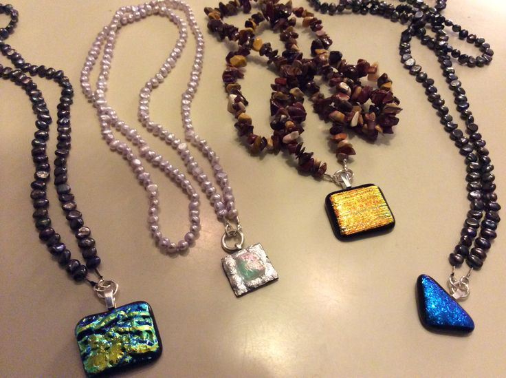 Pearls, stones and dicroid glass