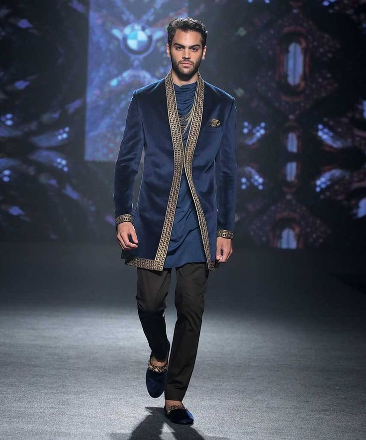 Designer Wedding Sherwani For Men Latest Trends Fall Winter 2015 2016 Couture Groom Outfit Dress Style Blue Navy Black Indian SuitsIndian