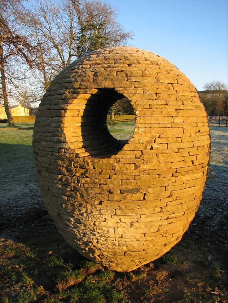 """""""Tufged Duck's Egg"""" Drystone Sculpture by Max Nowell;  almost 8 feet tall;  made of Yorkshire flag sandstone"""