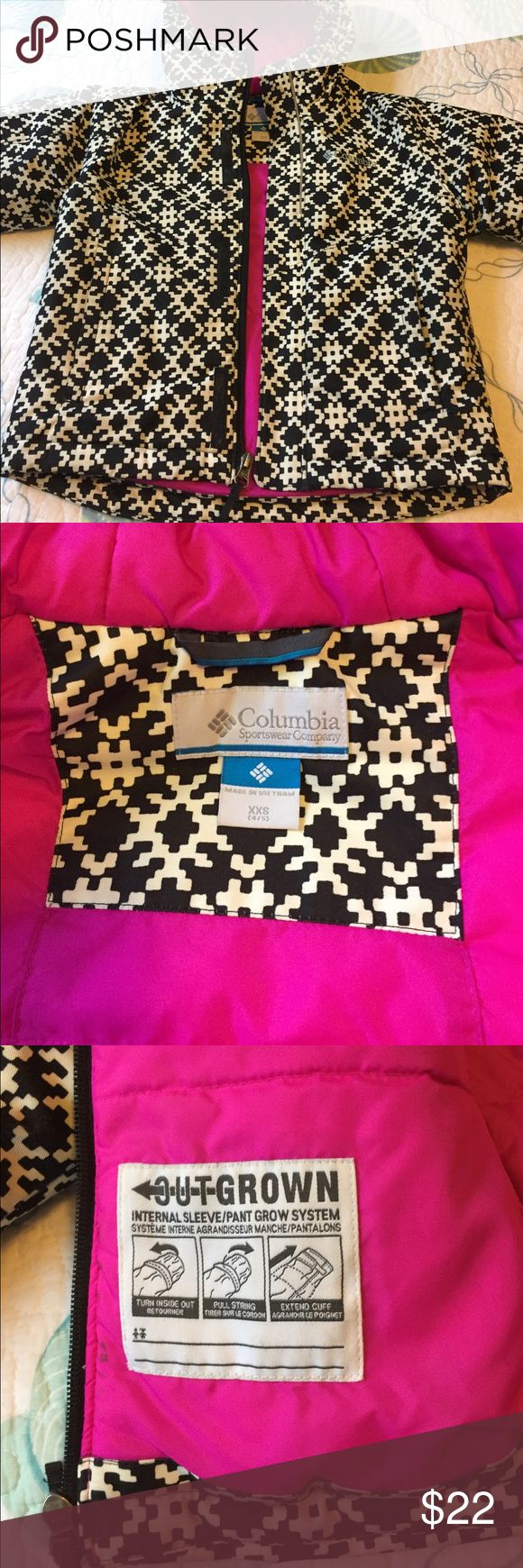 Columbia Little Kids Winter Jacket Columbia Little Kids Winter Jacket.  Size XXS 4/5.  Black & White with pink inside Trim.  Excellent Condition.  Zip up front pockets and adjustable internal sleeve. Columbia Jackets & Coats