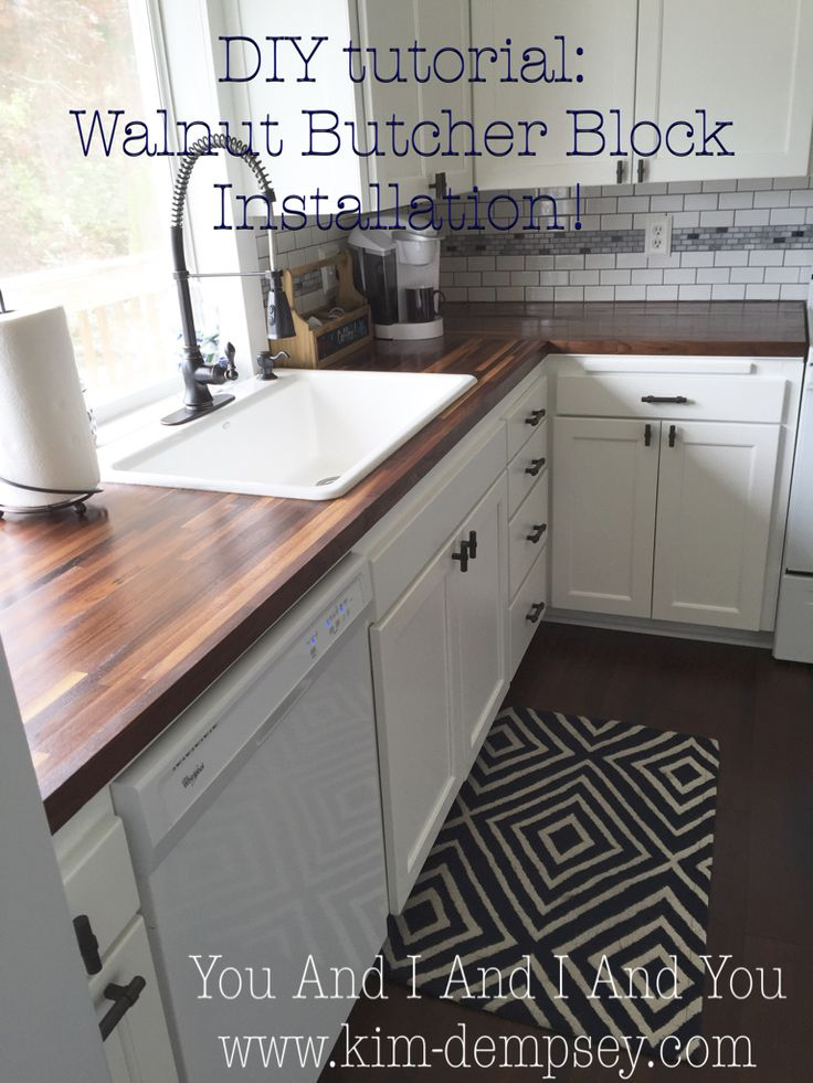 Tutorial on DIY Walnut Butcher Block Countertops Install. Dark Walnut BB from Lumber Liquidators. White cabinets and white appliances with dark bamboo hardwood floors and walnut counter tops.