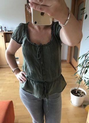 Kup mój przedmiot na #vintedpl http://www.vinted.pl/damska-odziez/bluzki-z-krotkimi-rekawami/17696599-zielona-khaki-bluzeczka-mgielka-36-38-40-mohito