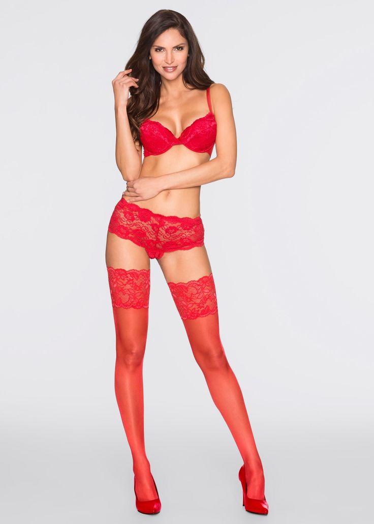 Calze autoreggenti Rosso è ordinabile nello shop on-line di bonprix.it da ? 9,99. Calze di satin con  alta fascia di pizzo siliconata all'interno per una ...
