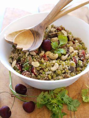 Vadrouilles gourmandes : Salade de pois cassés, quinoa, cerises et aubergines