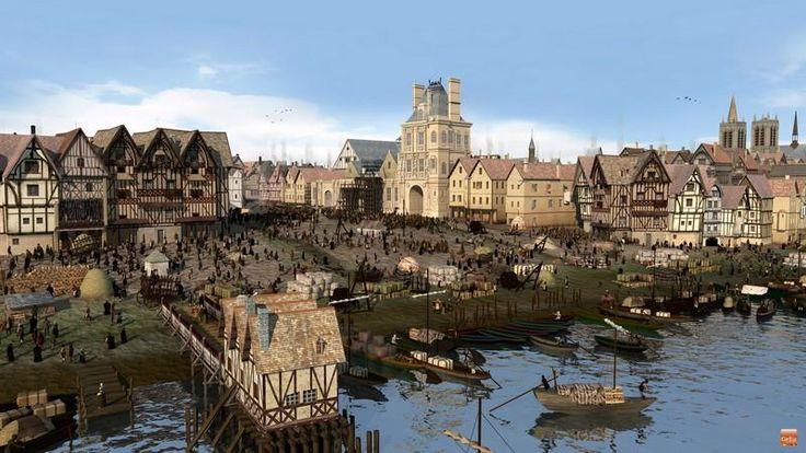 La place de grève en 1550. En pente douce, c'est le plus important port de Paris sur la rive droite. Au premier plan le moulin de maître Hugues. Au centre, le début de la construction de ce qui sera l'Hôtel de ville. A droite au distingue l'église Saint-Gervais.