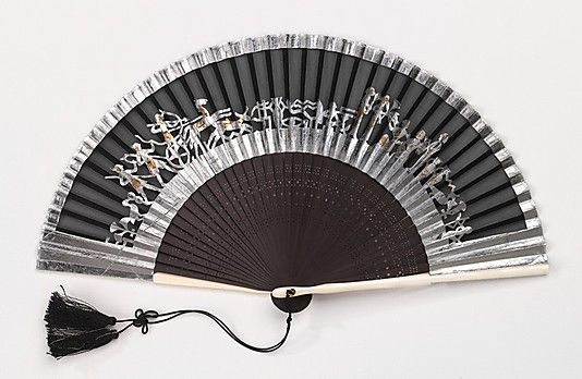 Fan Date: ca. 1925 Culture: Japanese Medium: wood, ivory, silk, paper Dimensions: 8 3/4 in. (22.2 cm) Credit Line: Brooklyn Museum Costume Collection at The Metropolitan Museum of Art,