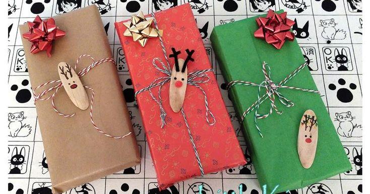 Etiquetas adhesivas de madera para tus regalos navideños