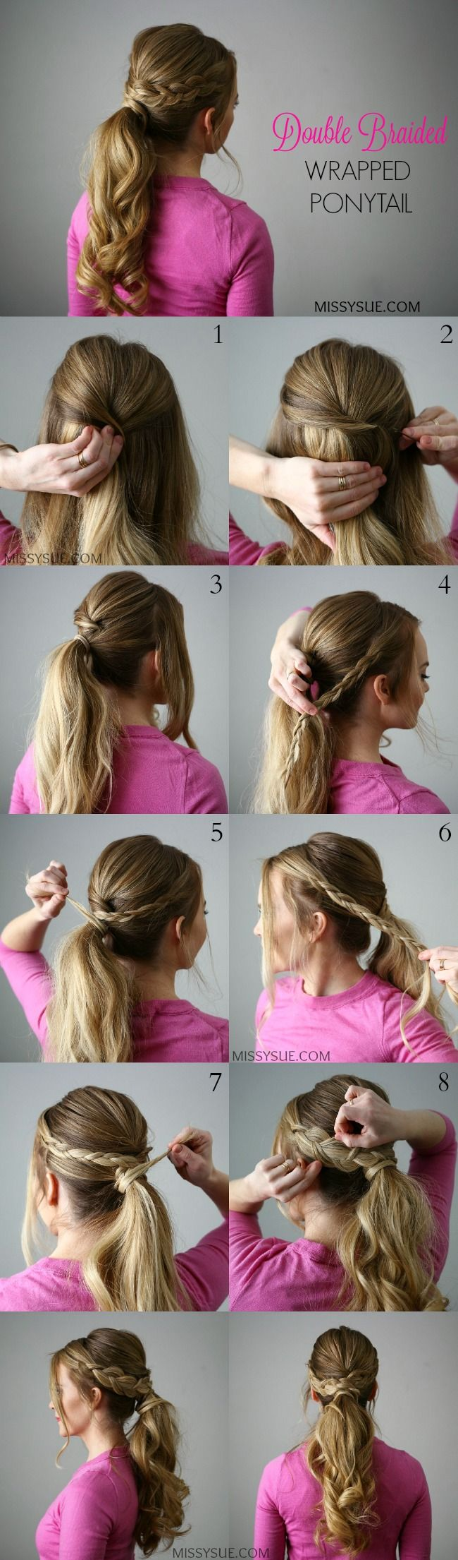 Adding some pretty braids to a traditional ponytail is a quick and easy way to dress it up. The holidays are right around the cornerand now's the time to be thinking about how you will be styling your hair for that upcoming party. This Double Braid Wrapped Ponytail is quick and easy and doesn't require any tricky braiding. There is a little extra step with the ponytail however which adds a little extra something to a traditional look, taking it up a notch for a special occasion or really…