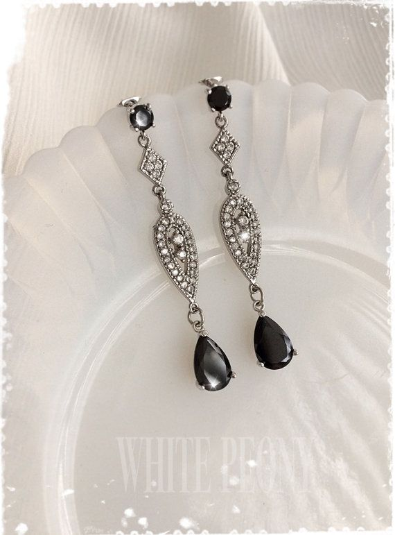 226 best bridal wedding earrings images on pinterest 1920s art deco downton abbey black crystal chandelier earrings black cubic zirconia cz gatsby old hollywood long drop earrings edith noir mozeypictures Image collections