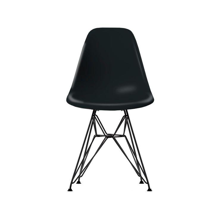 Eames Plastic Side Chair DSR stol - Eames Plastic Side Chair DSR stol - svart, svart stativ