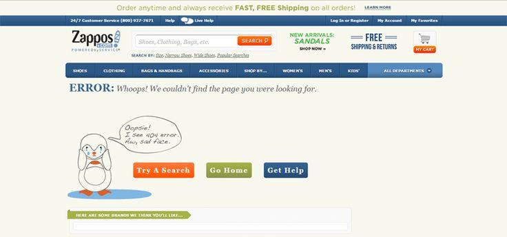 Zappos 404 error page