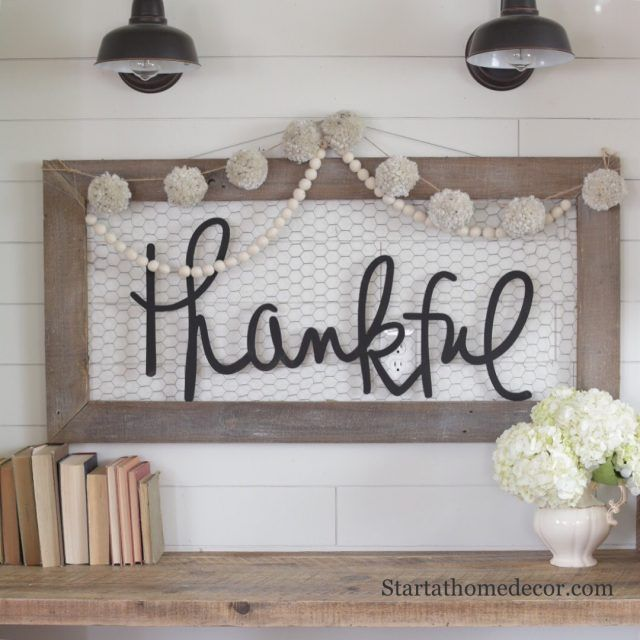 Handwritten word cutouts by Start at Home Decor | Chicken wire sign | Thankful word cutout | Wood words
