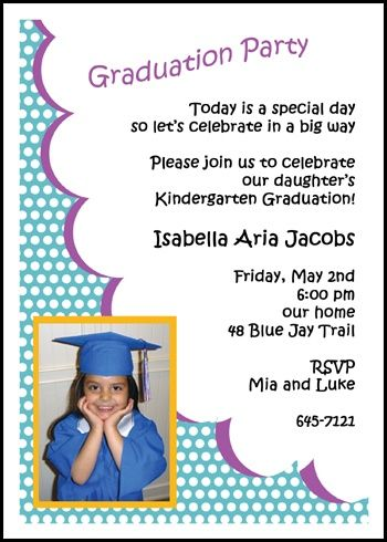 Most Popular Preschool And Kindergarten Graduation Photo Party Invitations With Polka Dots For Inviting Your