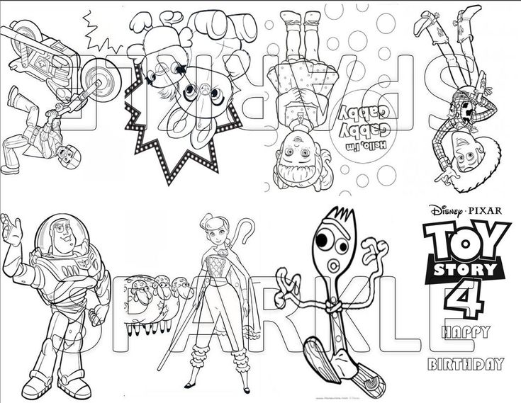 Toy Story 4 Mini Coloring Book Goodie Bag Favor Party Bag Etsy