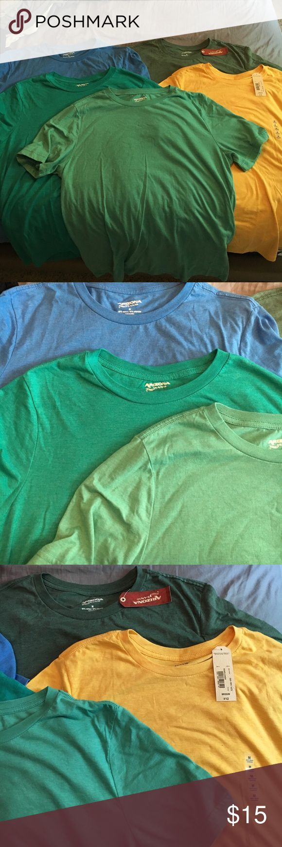 Lot of Men's Arizona Basic T's Five plain colored t-shirts. Heathered hunter green and yellow are NWT. Blue, teal, and aqua are only worn once or twice and in like new condition . All size medium. Arizona Jean Company Shirts Tees - Short Sleeve