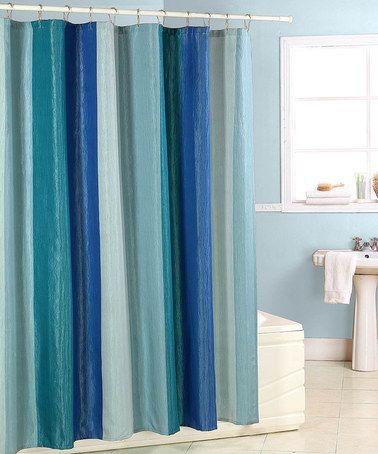 Loving this Blue Wave Fabric Shower Curtain on #zulily! #zulilyfinds