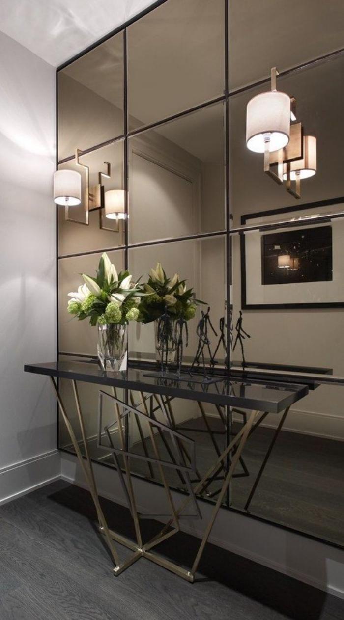 miroir entree, mur miroir et appliques avec console contemporaine