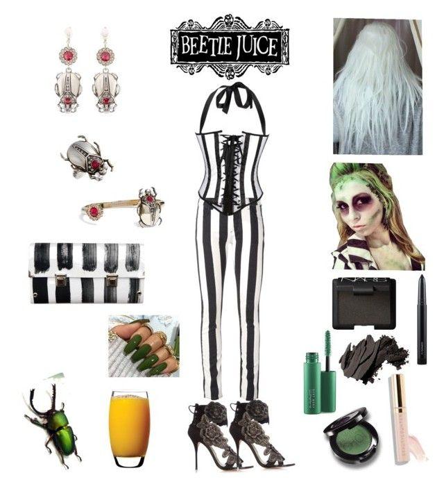 """Sexy Beetlejuice. 🐞🍹"" by iraida-g ❤ liked on Polyvore featuring Sophia Webster, Off-White, Alivila.Y Fashion, Bobbi Brown Cosmetics, NARS Cosmetics, MAC Cosmetics, Beautycounter, Luigi Bormioli, Alexander McQueen and Spanaki"