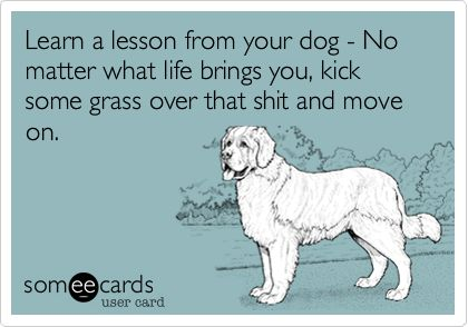 Funny Encouragement Ecard: Learn a lesson from your dog - No matter what life brings you, kick some grass over that shit and move on.