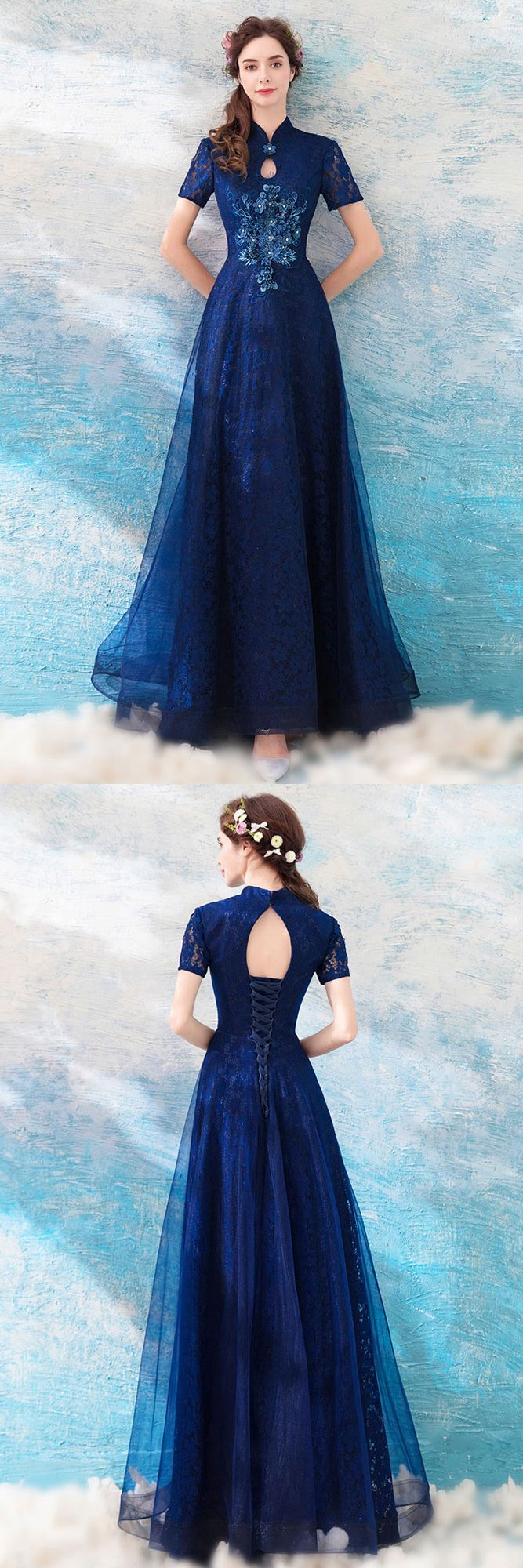 Elegant Navy Blue A Line Tulle Formal Party Dress With Short Sleeves Wholesale #T69234 – GemGrace.com
