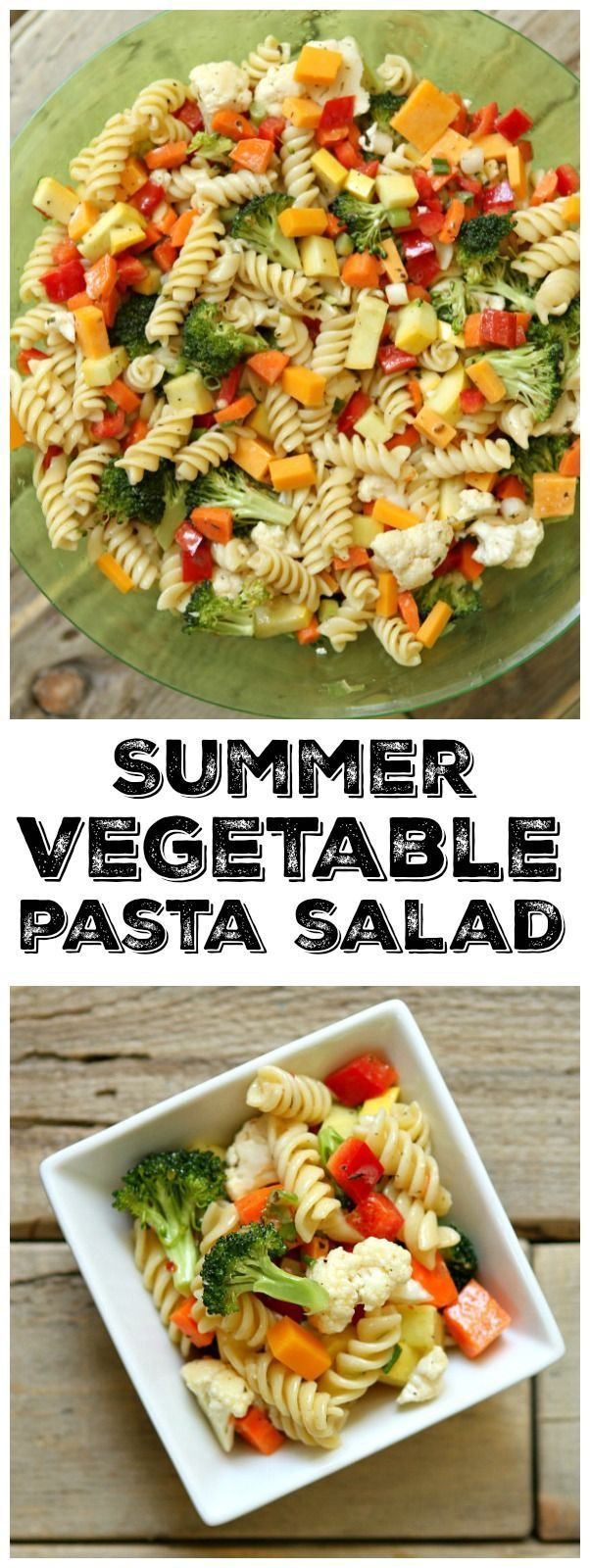 Easy Summer Vegetable Pasta Salad recipe: perfect for parties, BBQ's and potlucks.   A delicious pasta salad to serve at parties.