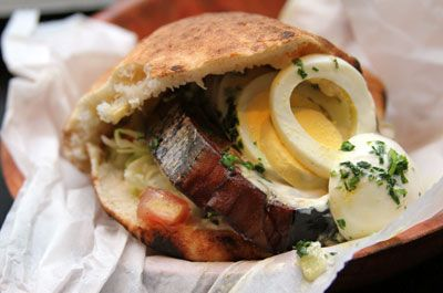 Sabich...an Israeli dish combining fried eggplant, hummus, boiled eggs ...