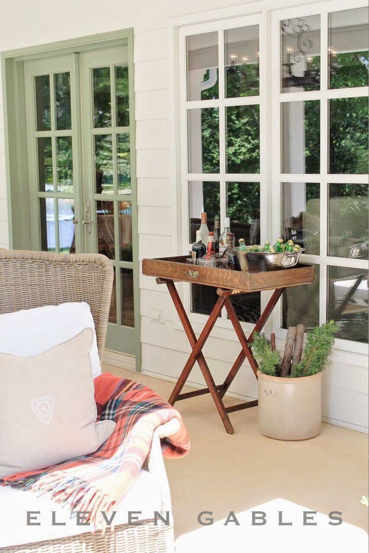 Eleven Gables Back Porch Patio Outdoor Living Room. Butleru0027s Tray. Bar  Cart. Drink