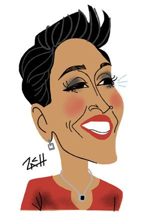 "Caricature of ABC TV's ""Good Morning America"" anchor Robin Roberts"