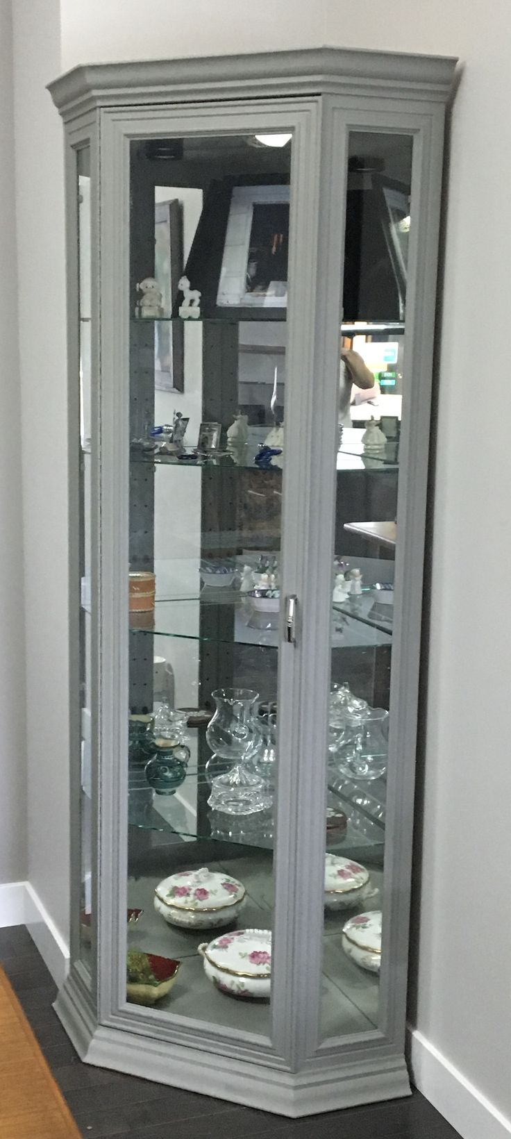 oak corner curio cabinet used rustoleum aged grey chalk Small Oak Curio Cabinets Small Oak Curio Cabinets