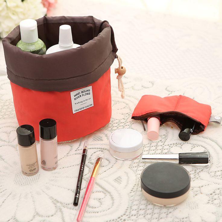 Cosmetic Bags Cases  New Arrival Barrel Shaped Travel Cosmetic Bag Nylon High Capacity Drawstring Elegant Drum Wash Bags Makeup Organizer Storage Bag ** Informações detalhadas podem ser encontradas clicando no botão VISITAR