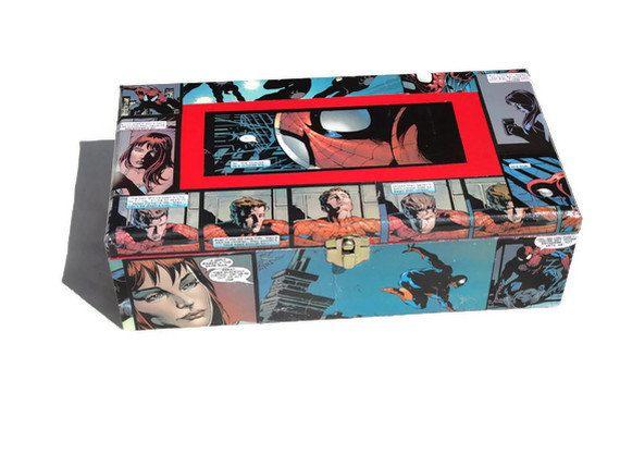 spider man comic book art jewelry box with mirror