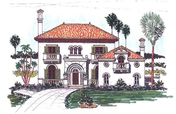 Authentic Italian period style home plan! Full set of plans for $3,019.50
