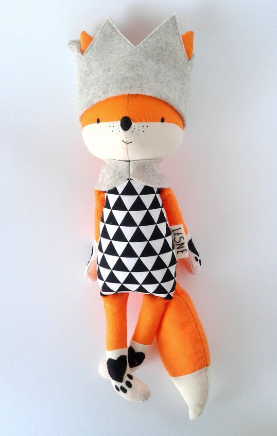 EINAR the fox. made-to-order. eco toy. gift for children. stuffed fox. textile fox. kids room decorative fox. IdealPin