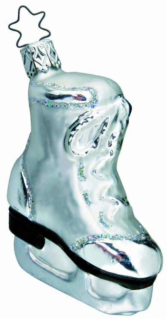 """Silver Skate. 3-3/4"""" glass ornament. New in 2001. Inge-GlasNo. 1-560-01. Hand-blown, hand-painted. With Inge-Glas acid free paper Made in Germany __________"""