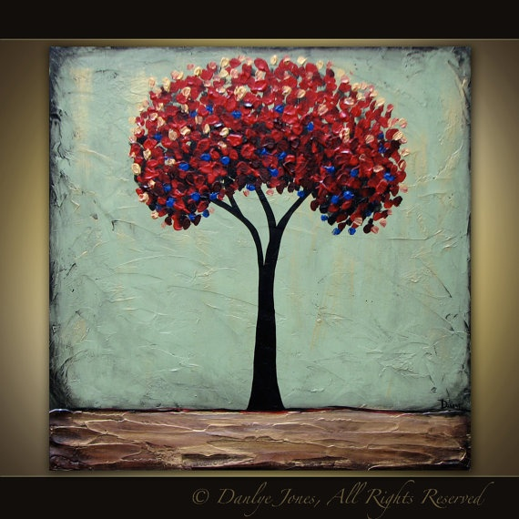 red tree original acrylic painting on canvas 30 x 30 stuff i want