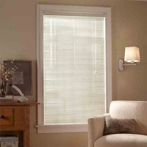 BEIGE Vinyl 1in Mini Blinds by N/A. $4.18. These vinyl mini blinds are perfect for your home, office and used extensively in apartment buildings because of their long lasting characteristics Classic 1 inch slats. Auto-locking cord mechanism adjusts blind height. Tilt wand. Wipe clean with a damp cloth. Installation hardware and instructions included. Length on these vinyl blinds can shortened to fit your window for that custom look We can shorten your blind's lengt...
