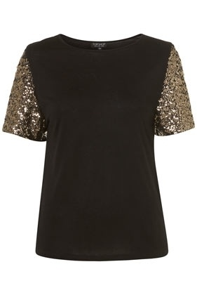 Battered Sequin Sleeve Tee - Topshop USA - StyleSays: Sequin Sleeved Tee, Fashion Stuffs, Fashion Inspiration, Battered Sequin, Black, Fashion Style Clothing