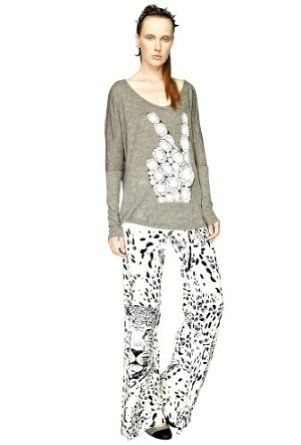 Lauren Moshi Charlize Leopard Wide Leg Pant in White - Medium Lauren Moshi. $135.00
