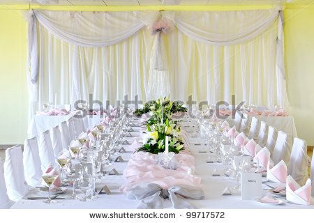 BB - Decorative placemats on the table - banquet - stock photo