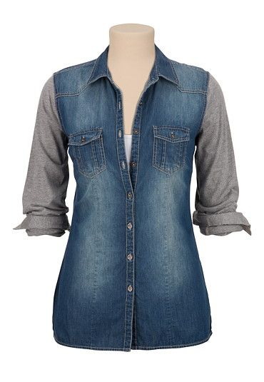 Button Down Denim Shirt with contrast sleeves (original price, $29) available at #Maurices