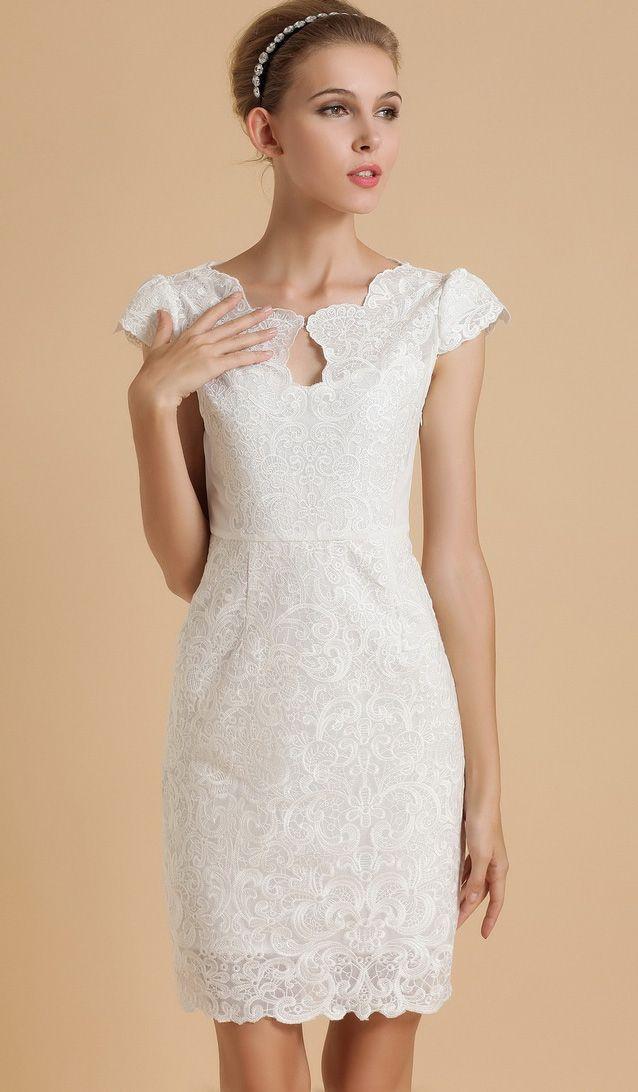 White Short Sleeve Scallop U Neckline Lace Bodycon Dress