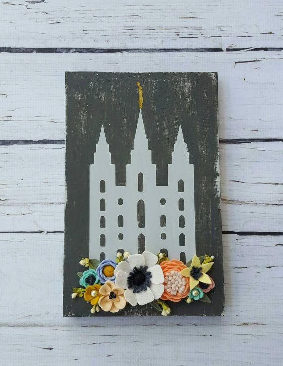 Salt Lake LDS temple wood sign with handmade felt flowers