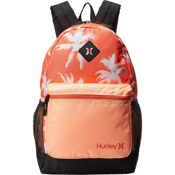 Hurley Mater Printed Backpack (Hyper Orange/Sunset Glow/Light Wild... ($30) ❤ liked on Polyvore featuring bags, backpacks, orange, print bags, hurley, orange bag, orange backpack and knapsack bag