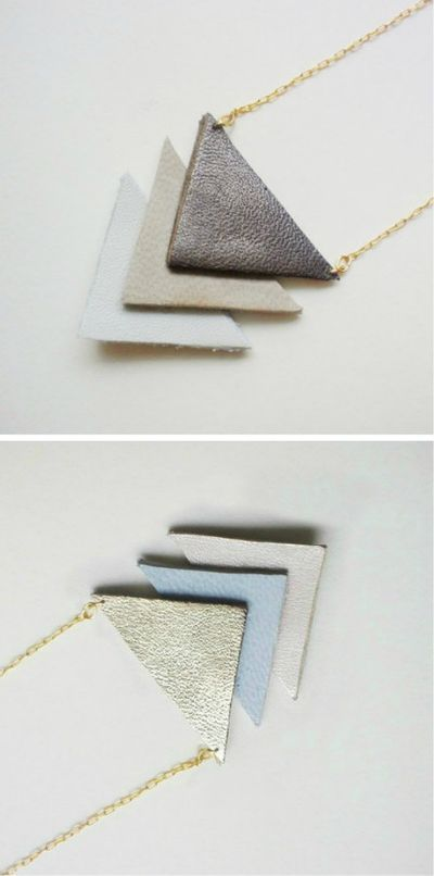 Leather trianglesJewelry Inspiration, Jewelry Accessories, Diy Jewelry, Necklaces Geometric, Accesories Projects, Leather Geometric, Geometric Jewelry, Geometric Style, Geometric Necklaces