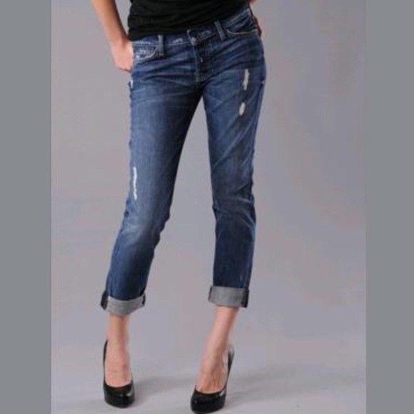 7 For All Mankind Josefina Skinny Boyfriend Jeans Distressed