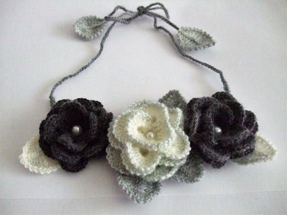 Crochet necklaceHandmade Freeform crochetBoho
