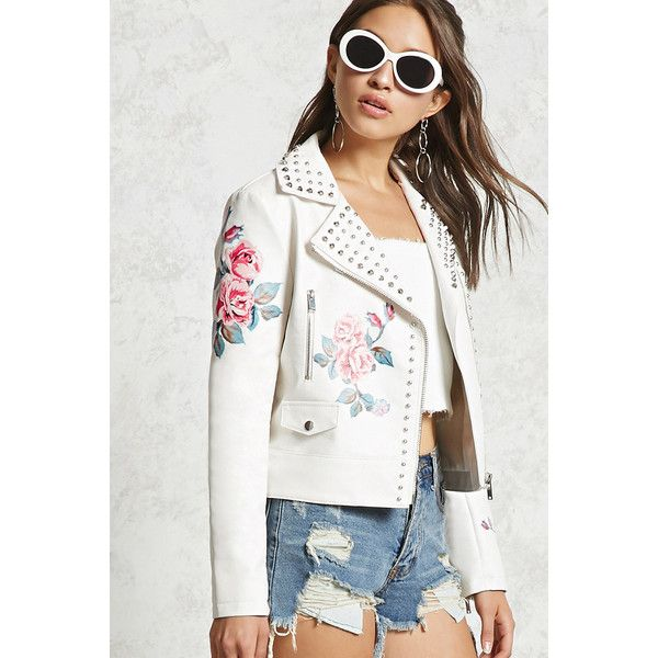 Forever21 Studded Floral Moto Jacket ($58) ❤ liked on Polyvore featuring outerwear, jackets, cream, floral jackets, studded motorcycle jacket, floral moto jacket, white biker jacket and biker jackets