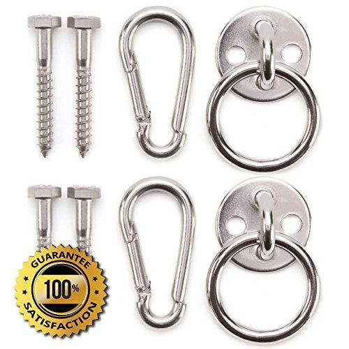 Premium Hammock Hooks by Amerigo  Best Hanging Kit for inside relaxation  Heavy Duty  Set of Round Pad Eyes Spring Snap Hooks and Lag Screws made from Stainless Steel for your Perfect Experience * To view further for this item, visit the image link.